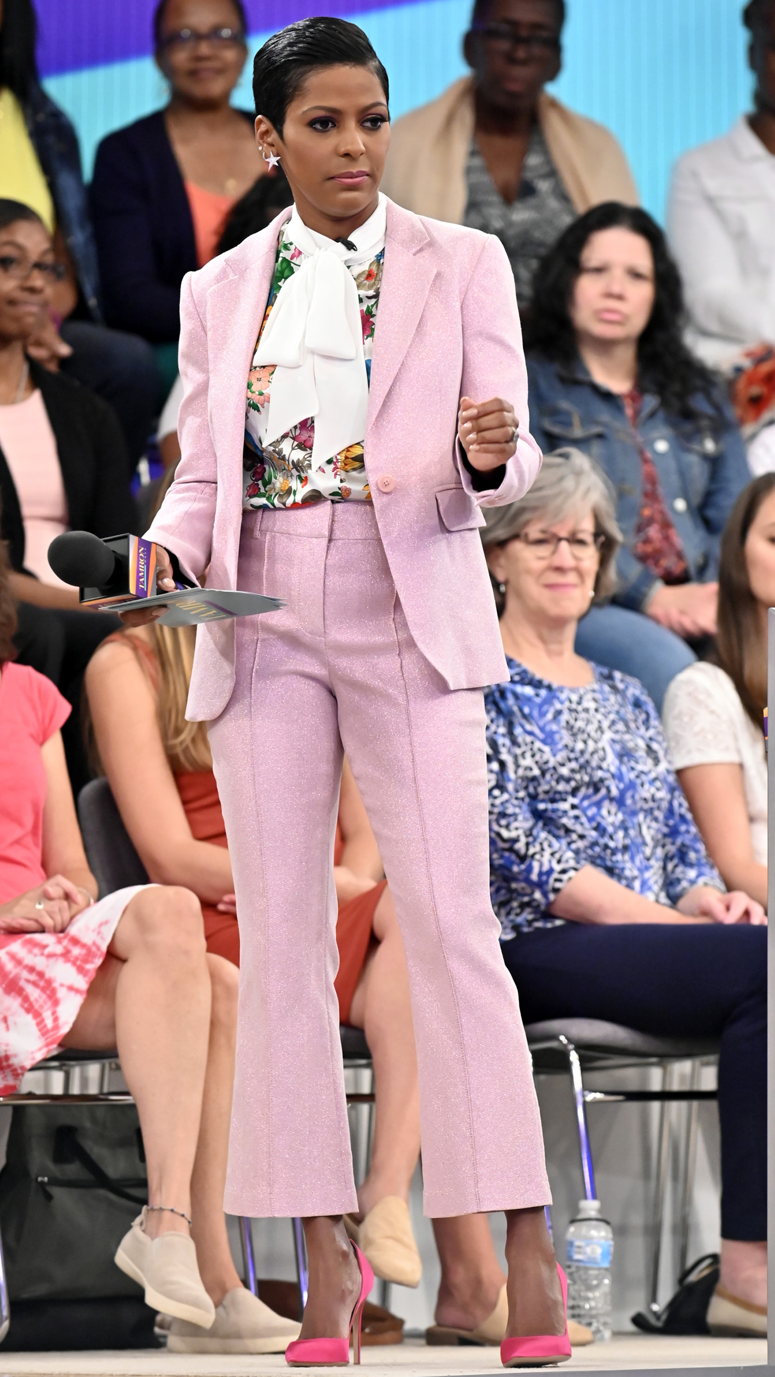 Pink Suit by Sies MarjanFloral Silk Blouse by Edeltrud HofmannHot Pink Silk Pump by Gianvito RossiStar Earrings by Jennifer Miller