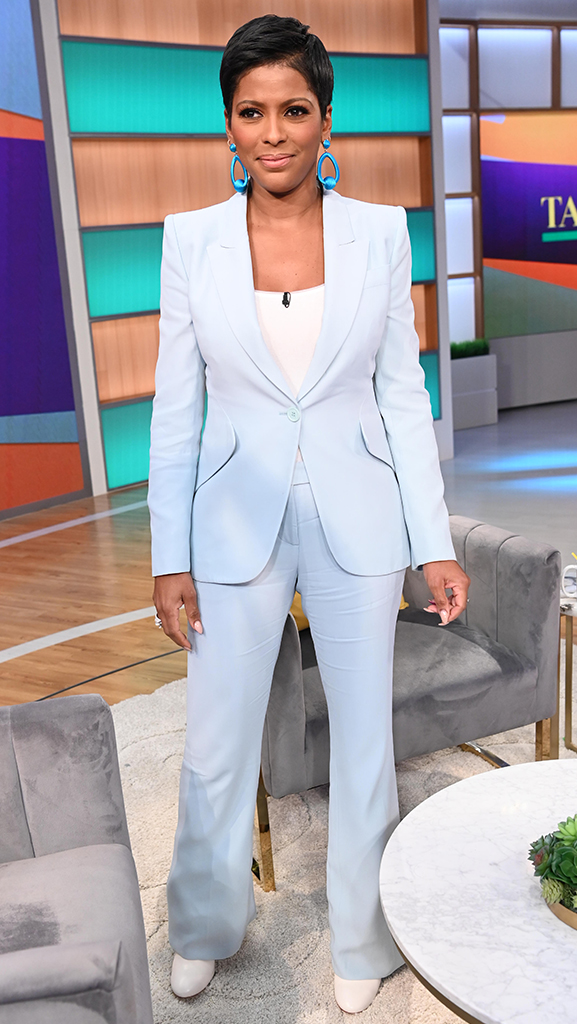 Powder Blue Suit by Alexander McQueen // Boots by Alexander McQueen // White Bodysuit by Wolford // Jewelry by Jennifer Miller
