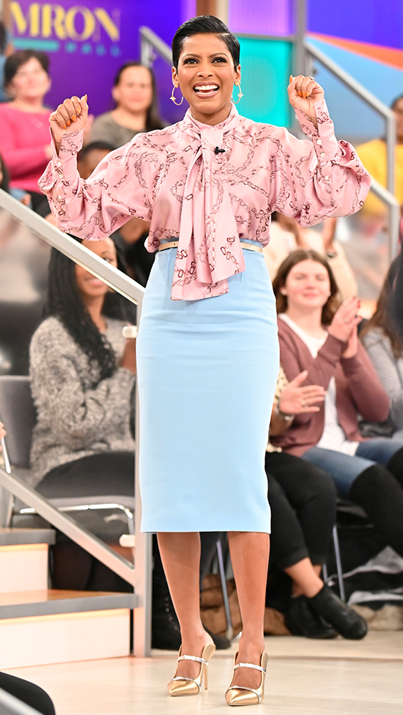 Silk Blouse by Victoria Beckham // Skirt by Roland Mouret // Shoes by Malone Soulier // Earrings by Dazzle Jewelry