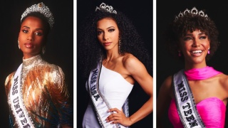 Miss Universe Zozibini Tunzi, Miss USA Cheslie Kryst, and Miss Teen USA Kaliegh Garris