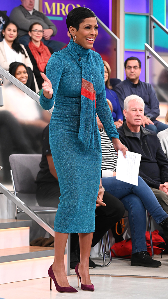 Blue Dress by Victoria Hayes // Purple Pumps by Gianvito Rossi // Earrings by Jennifer Miller
