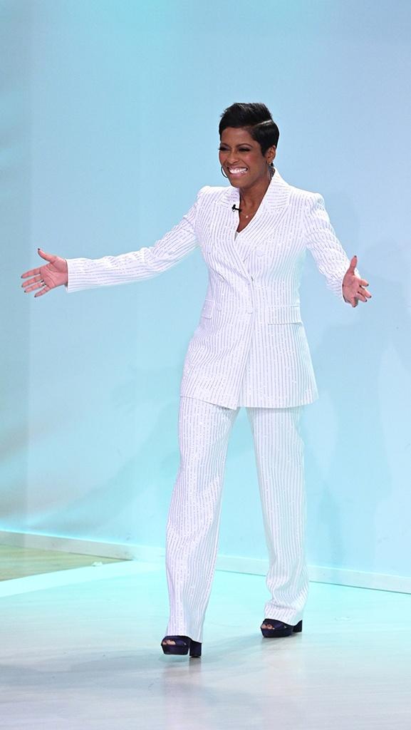 White Suit by Michael Kors // Navy Satin Shoe by Oscar de la Renta // Hoops by Jennifer Miller