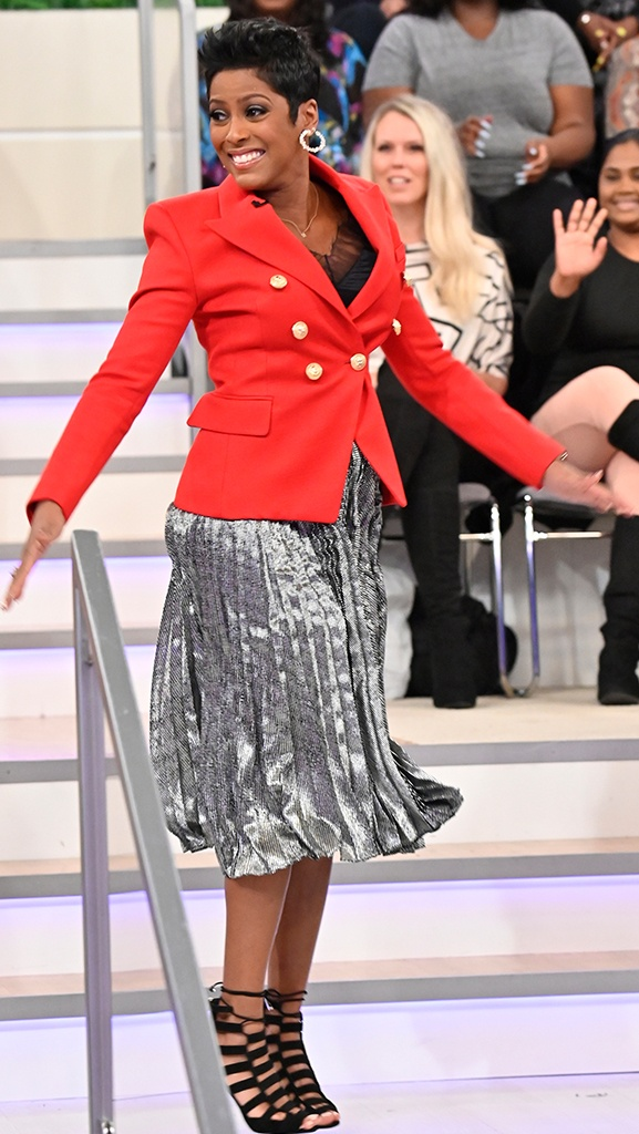 Red Jacket by Balmain // Cami by IRO // Skirt by Christopher Kane // Shoes by Pierre Hardy // Earring by Jennifer Miller