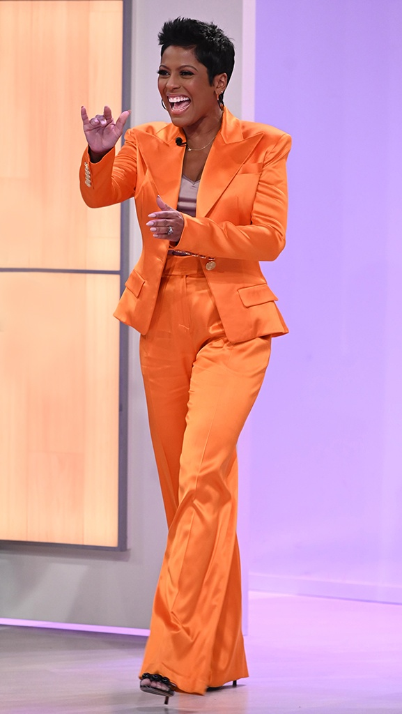 Orange Suit by Alexandre Vaughtier // Shoes by Alaia // Jewelry by Jennifer Miller