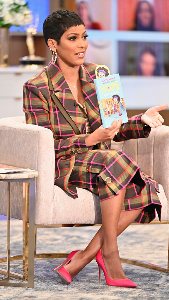 Plaid Suit by Ralph & Russo // Satin Cami by Theory // Pink Pumps by Gianvito Rossi // Earrings by Dazzle Jewelry