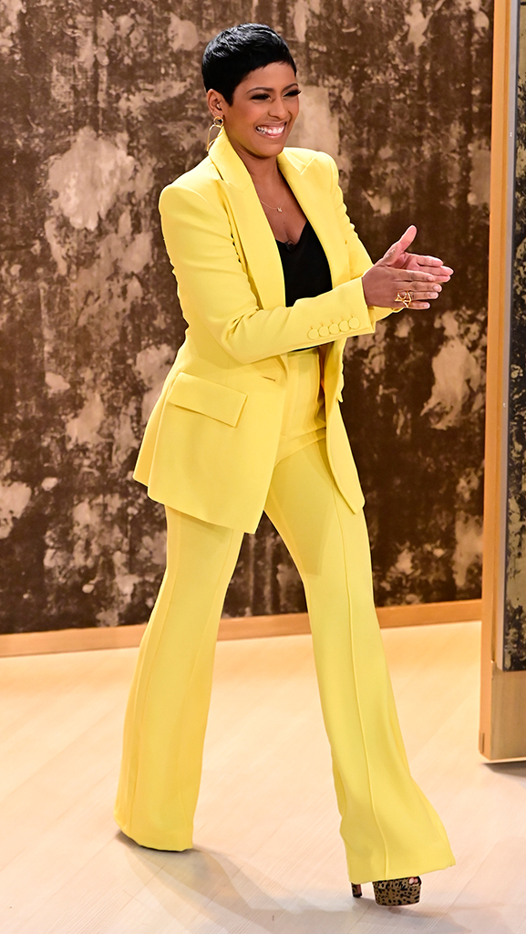 Yellow Suit by Alex Perry // Shoes by Gianvito Rossi // Earrings by Jennifer Miller
