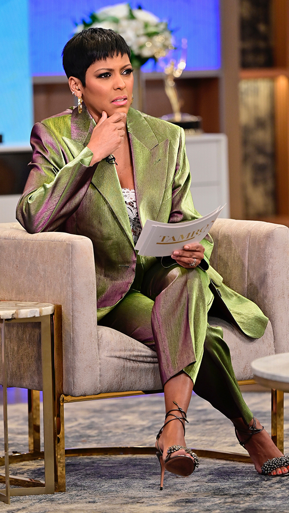 Suit by Dries Van Noten // Top by Oscar de la Renta // Shoes by Gianvito Rossi // Earrings by Dazzle Jewelry