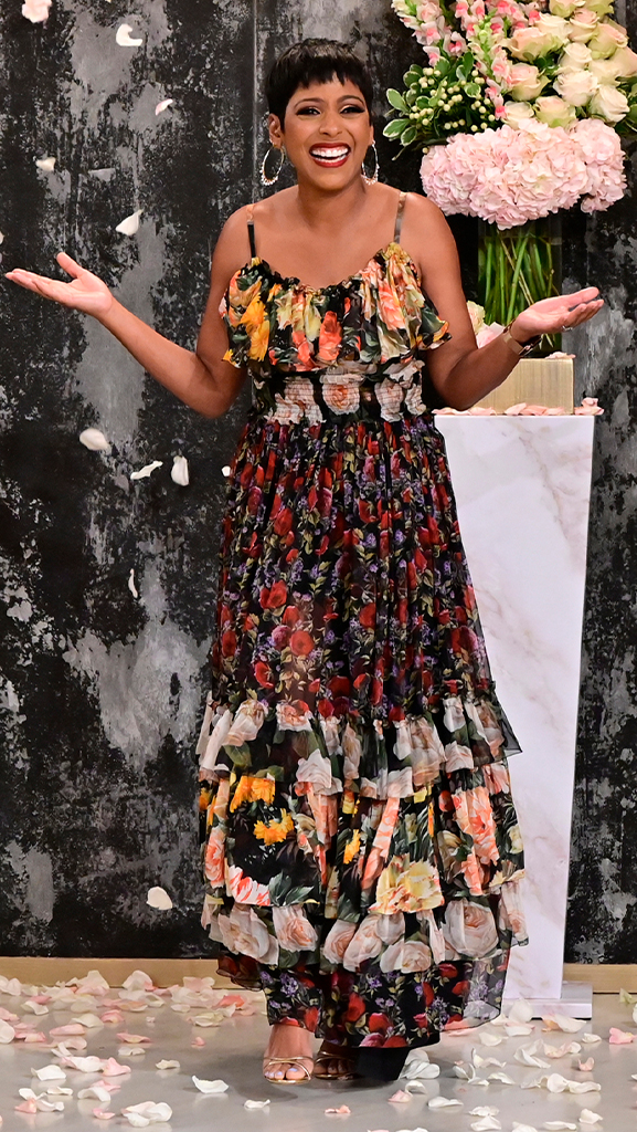 Dress by Dolce & Gabbana // Shoes by Gianvito Rossi // Earrings by Jennifer Miller